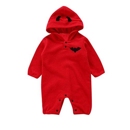 QinMM Kleinkind Infant Baby Mädchen & Jungen mit Kapuze Strampler Overall Halloween Outfits Kleidung Kostüm Outfits Kürbis Ghost Print Kleidung Set Rot für 6 Monate-24 Monate (12M, Rot)