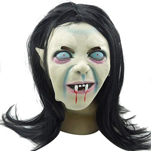QWEASZER Halloween Weibliche Geistermaske Requisiten Terrormaske Scary Headgear Adult Grimace Latex Headgear,Terror-OneSize