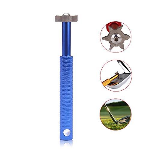 FOONEE Golf Club Groove Sharpener Werkzeug mit 6 Köpfen, Golf Club Groove Sharpener, Re-Grooving Tool und Reiniger für alle Eisen, Perfektes Werkzeug für Keile und Utility Clubs blau -