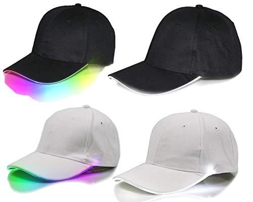 Verborgene Led (LED Baseball Mütze Base Cap mit Licht für Festivals, Clubs, Hip Hop Techno Party, größenverstellbar, Leuchtkappe Schirmmütze für Camping Outdoor, Unisex für Herren und Damen (weiß - mehrfarbige LED))