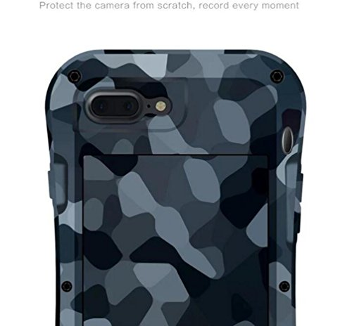 "IPhone 7 Plus 5,5 ""Strap Case, i-Nings Heavy Duty Kleine Taille wasserdicht Extrem Schock / Schnee / Schmutz Proof Aluminium Cover mit Gorilla Glas Bildschirm für Apple iPhone 7 Plus 5,5"" (Jungle Camo Desert Camouflage"