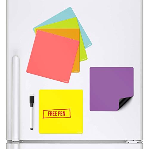 CKB Ltd Magnetische Whiteboards, die an Ihrem Kühlschrank kleben, trocken abwischbarer Planer, Magnetschild, mit Marker und Stift, Bunte Küchen-Notizen, große Tagesmenü, Einkaufs-to-Do-Liste, 6 Stück (Kühlschrank-magnete Für Die Küche)