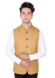 La Rainbow Casual Silk Blend Beige Nehru Jacket For Men/Boys