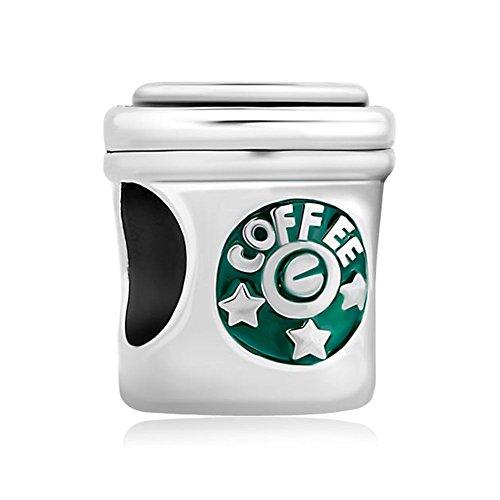 Uniqueen, ciondolo per braccialetto, charm a forma di tazza da caffè e argento, cod. li_dpc_my696