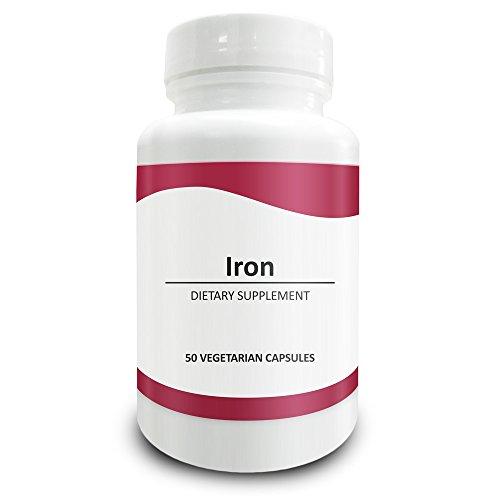 Pure Science als Eisen (Eisensulfat) 65mg - Eisenergänzung für Frauen und Männern, Bekämpfung von Eisenmangel Anämie, fördert die Funktion des Gehirns und Bildung von Hämoglobin - 50 vegetarische Kapseln