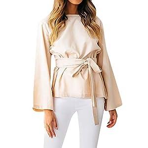 FeiBeauty 2018 Herbst und Winter heißen neue Damen Rundhals langärmelige Fliege Gürtel Taille einfarbig Trompete Ärmel einfache Mode sexy Shirt Pullover T-Shirt