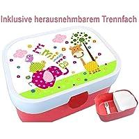 Kindergarten Brotdose mit Name, Mädchen, Elefant, Giraffe, Schule, Kita, personalisiert, Lunchbox, Brotzeitdose, Vesperdose, Vesperbox, ginidesign