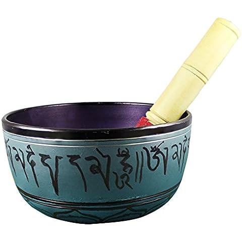 Dipinte a mano tazza tibetana cantante metallo verde - 6