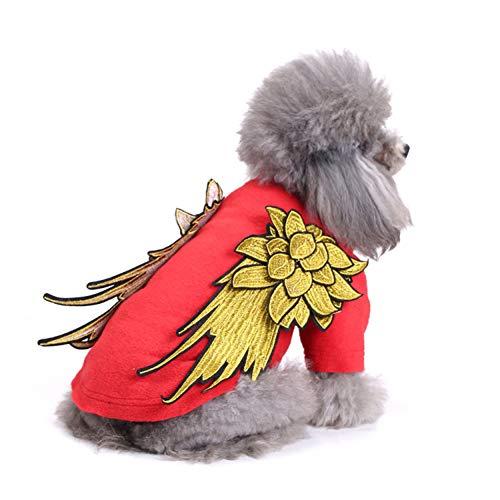ELOT Hundebekleidung für kleine Hunde Weste Geschirr Zweibeinshirt Engelsflügel Bestickt Haustierkostüme, XS(backlength8.0*chest11.5*neck7.5), rot