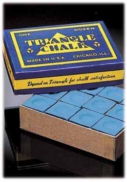 """12 Stücke Original USA """"Triangle""""-Billardkreide, blau."""
