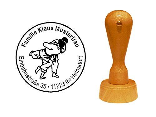 Stempel Holzstempel Motivstempel « JUDO KÄMPFER » Durchmesser ca. Ø 40 mm - mit persönlicher Adresse und Motiv - Kampfsport Judoka Japan