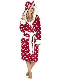 Ladies Christmas Spot Fleece Dressing Gowns with Animal Hood. Red Reindeer  or Grey Penguin. 4904c7726
