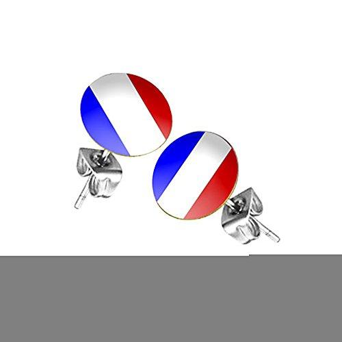 Piersando Ohrstecker Ohrringe Fahne Fussball EM & WM Länderflagge Fanartikel Land Flagge Schmuck Herren Damen Frankreich
