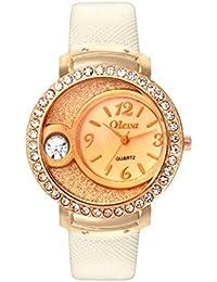 Oleva Premium Women's Leather Watch OPLW-17-WHITE-M