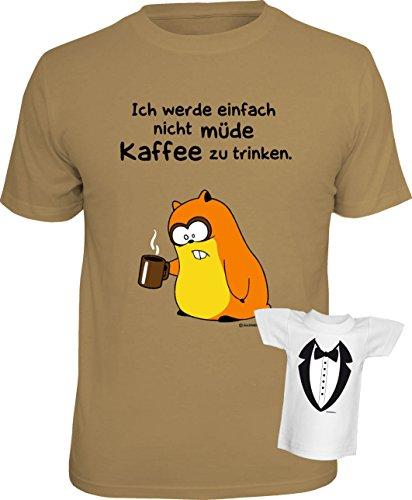 Lustiges Funshirt - Ich werde einfach nicht müde Kaffee zu trinken - Im Set mit einem gratis Gentleman Minishirt! Sand