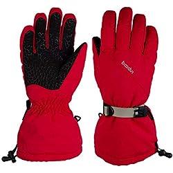 weiyoutong Long Duvet d'oie Gants de Ski Homme & Femme Hiver Chaud Thinsulate Coupe-Vent Imperméable Rouge (M)