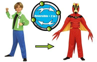 Imagen de cesar ben 10 fuerza alienígena  disfraz infantil reversible para niños de 5 a 7 años