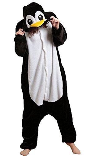 Anbelarui Tier Skelett Pinguin Dinosaurier Panda Einhorn Kostüm Damen Herren Pyjama Jumpsuit Nachtwäsche Halloween Karneval Fasching Cosplay Kleidung S/M/L/XL (XL, Pinguin)