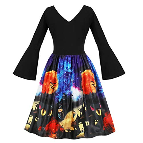 Superheld Kostüm Referenz - LILIHOT Frauen Halloween Party Kleider Vintage ärmellose Swing Dress Kürbisse Abend Prom Kostüm Festlich Elegant Hepburn Cocktail Abendkleid Rockabilly Ballkleid