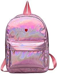 Holograma de la mujer mochilas Daypacks bolso de escuela de las muchachas bolsos holográficos de cuero