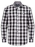 ALMBOCK Trachtenhemd Herren kariert | Slim-fit Männer Hemd schwarz-weiss kariert | Karo Hemd aus 100% Baumwolle in den Größen S-XXXL