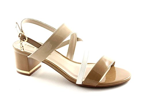 LAURA BIAGIOTTI 961 beige bianco scarpe sandali donna tacco cinturino 39