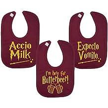 Baberos inspirados en el mago para bebés, chaleco expandible Vomito Accio con leche y mantequilla