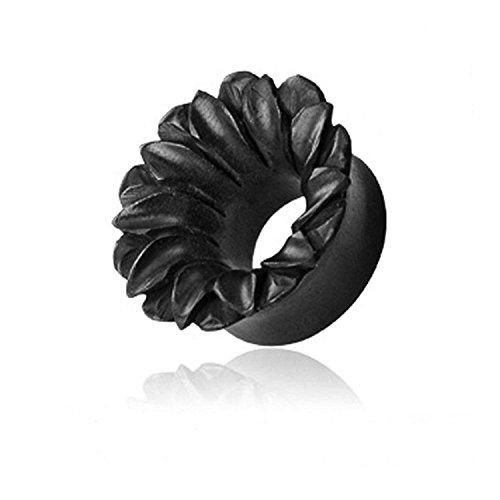 11mm schwarz natürliche organische Hand geschnitzten Holz areng Lotusblume hohlen Ohrloch Plug - Tunnel Burst Sattel hochwertigen Materialien - Klassische Hand Geschnitzte Holz