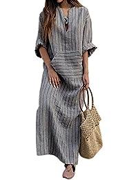 iBaste Plus Size Kleid Damen Sommerkleid Lang Maxikleid Kurzarm Kleid  A-Linie Strandkleid Bodenlanges Abendkleid 321b08a95a