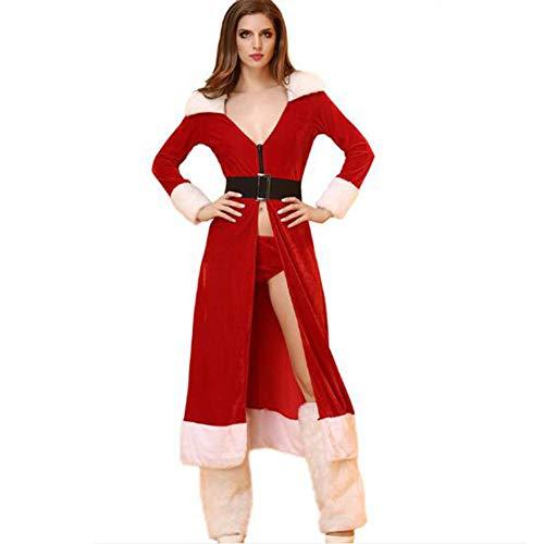 Se donne costume natalizio pigiama travestimento lingerie camicia da notte include: camicia da notte + mutandine + cintura + manica