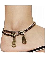 Yogogo Unique Zipper design Anklet Bracelet, Mode Punk Métal Vintage Ladies Bijoux Accessoires