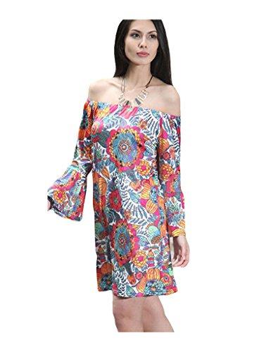 Bestgift Damen Kurze Kleider Strandkleid Minikleid Drucken Sommer A-Linie  Schlank kleider Multicolor 18