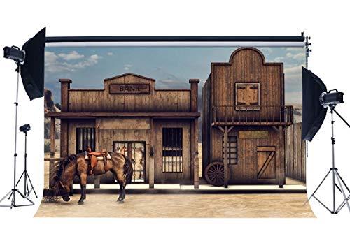 GzHQ Vinyl Alte Bank Hintergrund 10X8FT Wild West Alten Holzhaus Kulissen Amerikanische Kultur Pferd West Cowboy Fotografie Hintergrund für Persönliche Porträts Fotostudio Requisiten HL11 -
