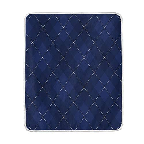 SENNSEE Tagesdecke mit geometrischem Argyle-Muster, für Couch/Bett, Wohnzimmer, Stuhl, 127 x 152 cm, für Erwachsene, Kinder, Damen, weiche Samt-Decke, warm, flauschig dekorativ