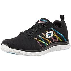 Skechers Flex AppealSomething Fun, Sneaker Donna, Nero (Bkmt), 39