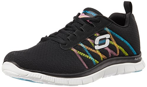 Skechers Flex Appeal Something Fun, Damen Sneakers, Schwarz (BKMT), 39 EU