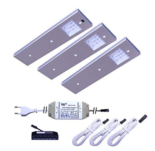 LED Unterbaustrahler Angelo 3er Set mit Bewegungssensor zum Ein- bzw. Ausschalten als Küchen- und Vitrinenleuchte