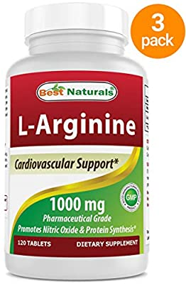 3 Pack - Best Naturals L-Arginine 1000 mg 120 Tablets - Pharmaceutical Grade L Arginine Supplement Promotes Nitric Oxide Synthesis (Total 360 Tablets) from Best Naturals