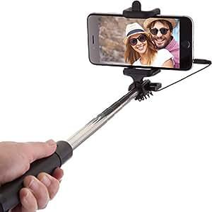 Power Theory Selfie Stick – Batterielose Selfie Stange ohne Bluetooth für iPhone 7 6s 6 Plus SE 5S 5C 5 Samsung Galaxy Android S7 S6 Edge S5 S4 S3 Note Mini GoPro Smartphone – Universal Monopod Stab mit AUX Kabel (Schwarz)
