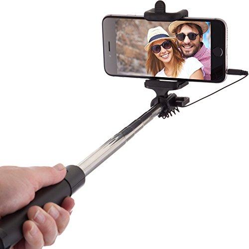 Perche Selfie Stick Câblé [Sans Batterie, sans Bluetooth] pour Apple iPhone 6s 6 Plus 5 5s 5c 4, 4s, Samsung Galaxy S3 S4 S5 S6 S7 Edge & Android Smartphone (Noir)