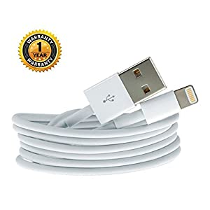 Raptas Lightning USB Charging and Sync Dock Connector Data Cable for iPhone 5 5s 5c 6 6s 6+ 6s+7 7+ 8 iPad Air/Mini iPod nano and iPod touch (White)