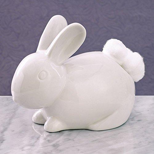 Bits and Pieces - Ceramic Bathroom Bunny Cotton Ball Holder - Cotton Tail White Rabbit Ceramic Cotton Ball Dispenser - Bathroom Novelty and Decor Cotton Ball Holder