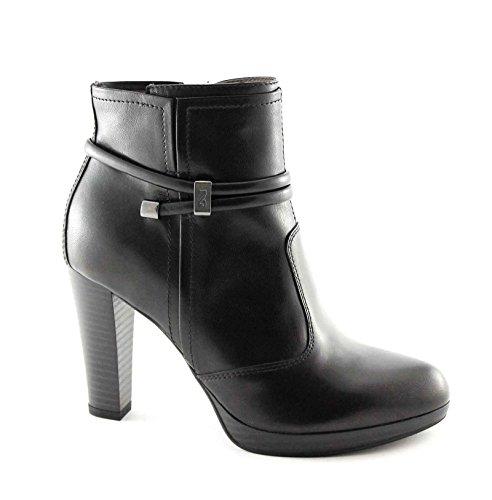 NERO GIARDINI 15955 nero stivaletti donna pelle tronchetti zip tacco 38