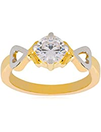 Shining Jewel Two Tone PlatIng Classic Solitaire Design FInger RIng For Women (SJ_4140)