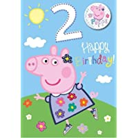 Peppa Pig Girl Age 2 Birthday Card with Badge