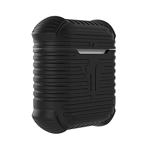 Kobwa airpods Case Schutzhülle Silikon Cover und Haut für Apple airpods Ladekabel Fall, airpods 4Air Taschen 3D-rutschfeste Textur Displayschutzfolie mit Karabiner Schlüsselanhänger