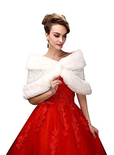 SK Studio Frauen weiche Faux-Pelz-Verpackungs-Cape Winter-Schal für Hochzeitskleid Weiß