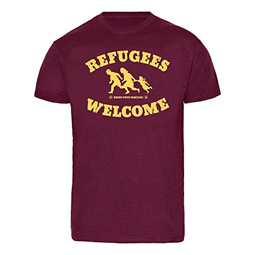 """Refugees welcome """"Bring your families"""" T-Shirt Rot"""