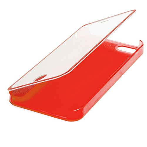 Moozy Transparent clair Housse / Étui Portefeuille Flip case avec Smart tactile et vue fenêtre sur la devant pour Apple iPhone 4 4S Rouge Tln Rouge