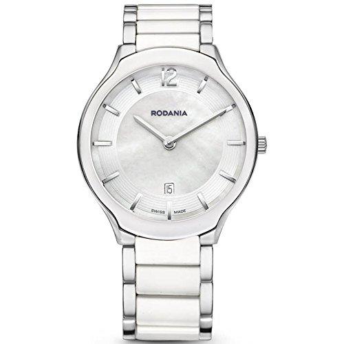 Orologio Rodania display cinturino Acciaio inossidabile Bianco e quadrante Madreperla 25087-40